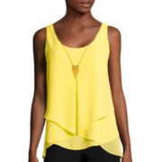 by&by Sleeveless Foldover-Front Necklace Top