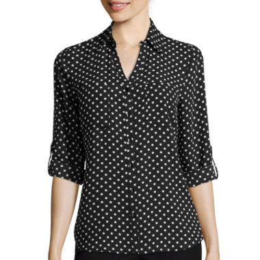 jcpenney.com | by&by 3/4-Sleeve Button-Front Polka Dot Shirt