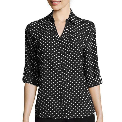 by&by 3/4-Sleeve Button-Front Polka Dot Shirt