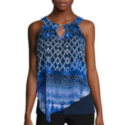 by&by Sleeveless Printed Knit-to-Woven O-Ring Top