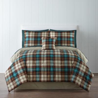 home expressions decklan plaid comforter u0026 sheet set