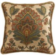 Croscill Classics® Tan Chenille Jacobean Square Decorative Pillow