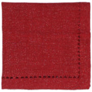 Homewear Metallic Hemstitch Set of 4 Red Napkins