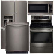 LG French-Door 4-pc. Kitchen Package- Black Stainless Steel
