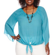 Alyx® Gauzy Angel-Sleeve Tie-Front Top with Necklace - Plus