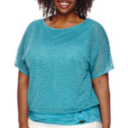 Alyx® Short-Sleeve Dolman Wavy-Knit Banded Top - Plus