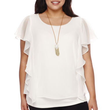 jcpenney.com | Alyx® Flutter-Sleeve Popover Top with Necklace - Plus