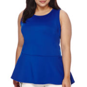 Bisou Bisou® Sleeveless High-Low Crossback Peplum Top - Plus