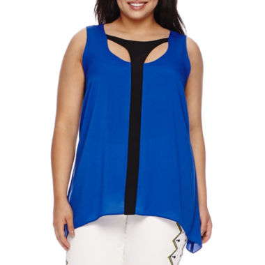 jcpenney.com | Bisou Bisou® Sleeveless Keyhole Cage Top - Plus