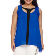 Bisou Bisou® Sleeveless Keyhole Cage Top - Plus