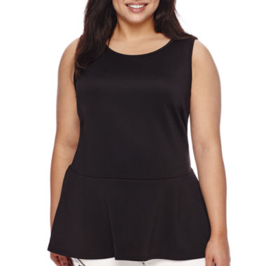 jcpenney.com | Bisou Bisou® Sleeveless High-Low Crossback Peplum Top - Plus