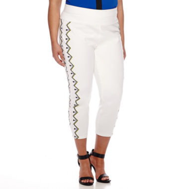 jcpenney.com | Bisou Bisou® Embroidered Shaper Pants - Plus