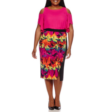 jcpenney.com | Worthington® Cold-Shoulder Ruffle Blouse or Trim Envelope Skirt - Plus