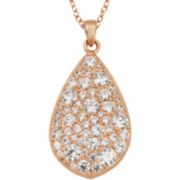 Rose Gold Brass Cubic Zirconic Teardrop Pendant