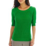 Worthington® Mixed-Texture Crewneck Sweater