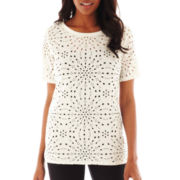 Worthington® Short-Sleeve Laser-Cut Top