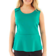 Worthington Sleeveless Peplum Top - Plus