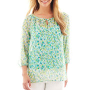 Liz Claiborne 3/4-Sleeve Peasant Blouse with Cami