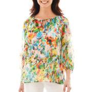 Liz Claiborne® 3/4-Sleeve Peasant Blouse with Cami - Petite