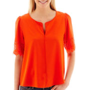 Stylus™ Short-Sleeve Laser-Cut Top