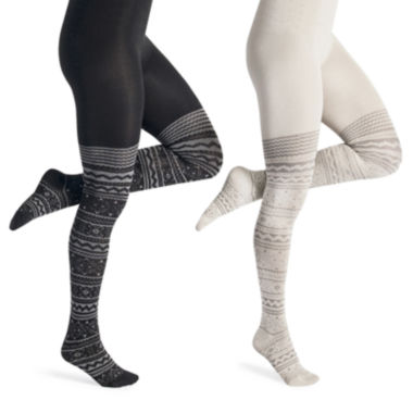 jcpenney.com | MUK LUKS® 2-pk.  Microfiber Patterned Tights