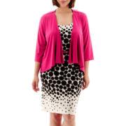 Studio 1® 3/4-Sleeve Dot Print Jacket Dress - Plus