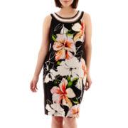 Studio 1® Sleeveless Floral Print Sheath Dress - Plus