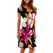 Tiana B. Short-Sleeve Exploded Floral Print Sheath Dress - Petite