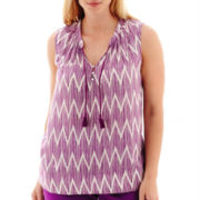 Stylus™ Sleeveless Chevron Print Tassel-Tie Top - Plus