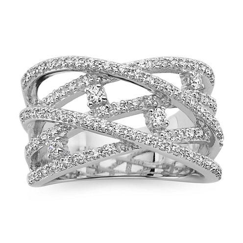 1/2 CT. T.W. Diamond 10K White Gold Criss-Cross Orbital Ring