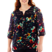 Arizona 3/4-Sleeve Woven Lace Tunic - Plus