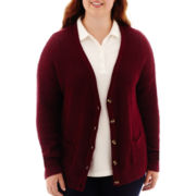 Arizona Long-Sleeve Boyfriend Cardigan - Juniors Plus
