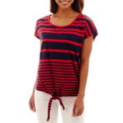 RXB Short-Sleeve Tie-Front Striped Top - Petite