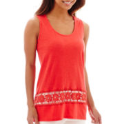 RXB High-Low Tank Top with Crochet Trim - Petite