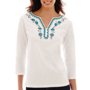 St. John's Bay® 3/4-Sleeve Embellished Top