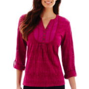 St. John's Bay® 3/4-Sleeve Lace Burnout Top