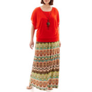 Alyx® Banded Burnout Blouse with Necklace or Printed Maxi Skirt