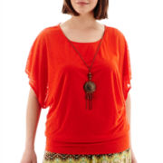 Alyx® Short-Sleeve Banded Burnout Blouse with Necklace - Plus