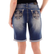 ZCO Embellished Cross Back-Pocket Denim Shorts - Plus