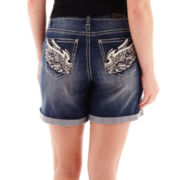 ZCO Embellished Wing Back-Pocket Denim Shorts - Plus