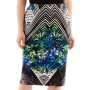 Bisou Bisou® Print Scuba Knit Pencil Skirt - Plus
