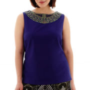 Bisou Bisou® Sleeveless Embellished Top - Plus