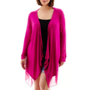 a.n.a® Long-Sleeve Chiffon-Trim Knit Flyaway Cardigan - Plus