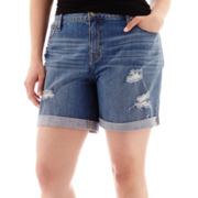 a.n.a® Destructed Denim Boyfriend Shorts - Plus