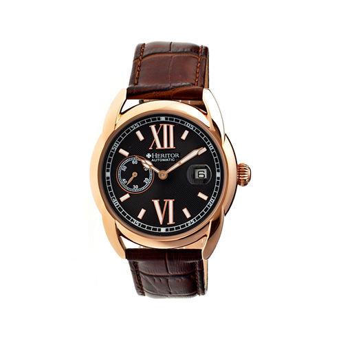 Heritor Automatic Burnell Mens Leather Date-Rose Gold/Black/Brown Watches
