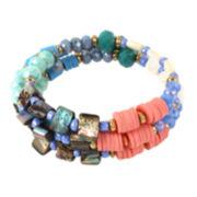 Bleu™ Mixed Bead Coil Gold-Tone Bracelet