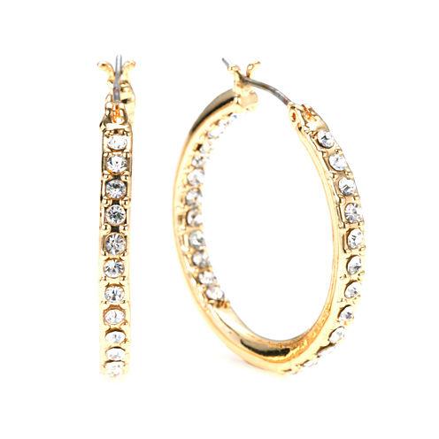 Gloria Vanderbilt® Large Gold-Tone Pave Hoop Earrings