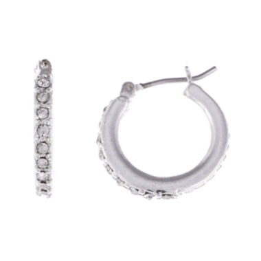 jcpenney.com | Gloria Vanderbilt® Silver-Tone Pave Small Hoop Earrings