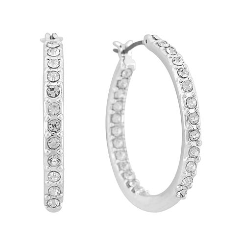 Gloria Vanderbilt® Silver-Tone Large Pave Hoop Earrings