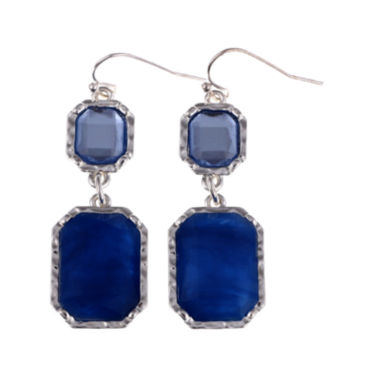 jcpenney.com | Gloria Vanderbilt® Silver-Tone Blue Double Drop Earrings